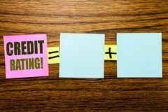Writing text showing Credit Rating. Business concept for Finance Score History written on sticky note paper on wooden background. Writing text showing Credit royalty free stock photos