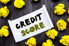 Writing text showing Credit Score. Business concept for Financial Rating Record Written on sticky note notepad note notebook book. Writing text showing Credit stock images