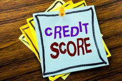 Writing text showing Credit Score. Business concept for Financial Rating Record written on sticky note paper on the wooden backgro. Writing text showing Credit royalty free stock photo