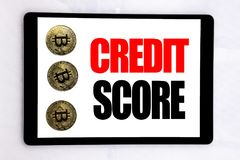 Writing text showing Credit Score. Business concept for Financial Rating Record written on tablet screen on the white background w. Writing text showing Credit royalty free stock images
