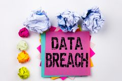 Writing text showing Data Breach written on sticky note in office with screw paper balls. Business concept for Tech Internet Netwo Royalty Free Stock Image