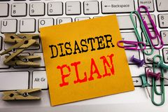 Writing text showing Disaster Plan. Business concept for Emergency Recovery written on sticky note paper on the white keyboard bac. Writing text showing Disaster Royalty Free Stock Photo