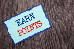 Writing text showing Earn Points. Business photo showcasing Loyalty Reward Benefit Program For Earning Customer Point written on. Writing text showing Earn stock photography