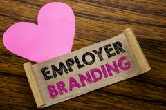 Writing text showing Employer Branding. Business concept for Brand Building written on sticky note paper, wooden wood background. Writing text showing Employer stock image