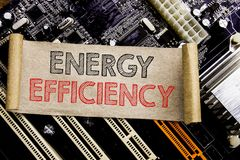 Writing text showing Energy Efficiency. Business concept for Electricity Ecology Written on sticky note, computer main board backg. Writing text showing Energy royalty free stock images