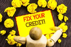 Writing text showing Fix Your Credit. Business photo showcasing Bad Score Rating Avice Fix Improvement Repair written on Sticky N royalty free illustration