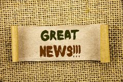 Writing text showing  Great News. Business photo showcasing Success Newspaper Information Celebration written on Tear Sticky Note. Writing text showing  Great Stock Photo
