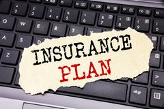 Writing text showing Insurance Plan. Business concept for Health Life Insured written on sticky note paper on the black keyboard b. Writing text showing Stock Image
