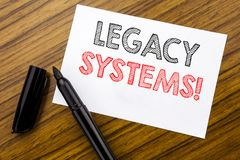Writing text showing Legacy Systems. Business concept for Upgrade SOA Application written on sticky note paper on the wooden backg. Writing text showing Legacy Royalty Free Stock Photos