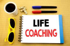 Writing text showing Life Coaching. Business concept for Personal Coach Help written on sticky note with copy space on old wood wo. Writing text showing Life Royalty Free Stock Photos