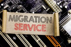 Writing text showing Migration Service. Business concept for Online Network Idea Written on sticky note, computer main board backg stock photo