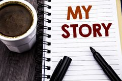 Writing text showing My Story. Business concept for Telling Tell About You written on notebook book note paper on the wooden wood. Writing text showing My Story Royalty Free Stock Image