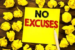 Writing text showing No Excuses. Business concept for Stop Ban for Excuse Written on sticky note paper, wooden background with fol. Writing text showing No Stock Image