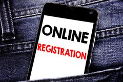 Writing text showing Online Registration. Business concept for Internet Login written mobile cell phone with copy space in the bac. Writing text showing Online royalty free stock photography
