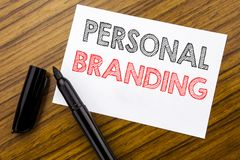 Writing text showing Personal Branding. Business concept for Brand Building written on sticky note paper on the wooden background. Writing text showing Personal royalty free stock photo