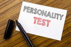 Writing text showing Personality Test. Business concept for Attitude Assessment written on sticky note paper on the wooden backgro. Writing text showing stock photography