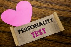 Writing text showing Personality Test. Business concept for Attitude Assessment written on sticky note paper, wooden wood backgrou. Writing text showing royalty free stock photos