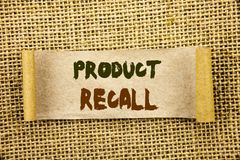 Writing text showing Product Recall. Business photo showcasing Recall Refund Return For Products Defects written on Tear Sticky N. Writing text showing Product royalty free stock photography