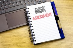 Writing text showing Risk Assessment. Business concept for Safety Danger Analyze written on notebook book on the wooden background. Writing text showing Risk stock photo