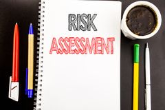 Writing text showing Risk Assessment. Business concept for Safety Danger Analyze Written on notepad note paper background with spa. Writing text showing Risk royalty free stock photo