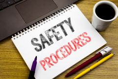 Writing text showing Safety Procedures. Business concept for Accident Risk Policy written on notebook book on the wooden backgroun Stock Photo