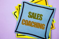 Writing text showing  Sales Coaching. Business photo showcasing Business Goal Achievement Mentoring written on sticky note paper o. Writing text showing  Sales Stock Photography