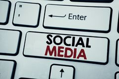Writing text showing Social Media. Business concept for Community Social Media written on white keyboard key with copy space. Top. View Stock Photo
