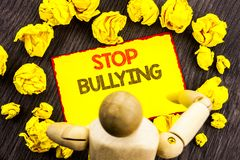Writing text showing  Stop Bullying. Business photo showcasing Awareness Problem About Violence Abuse Bully Problem written on Sti. Writing text showing  Stop Royalty Free Stock Photo