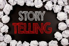 Writing text showing Storytelling. Business concept for Teller Story Message written on black background with copy space on old ba. Writing text showing Stock Image