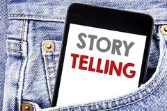 Writing text showing Storytelling. Business concept for Teller Story Message written on cellphone phone smartphone in the men pock. Writing text showing royalty free stock photo