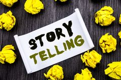 Writing text showing Storytelling. Business concept for Teller Story Message Written on sticky note notepad note notebook book woo. Writing text showing Royalty Free Stock Image