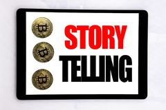 Writing text showing Storytelling. Business concept for Teller Story Message written on tablet screen on the white background with royalty free stock images