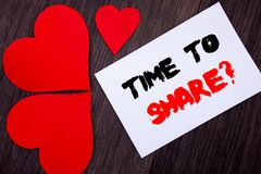 Writing text showing  Time To Share Question. Concept meaning Your Story Sharing Feedback Suggestion Information  written on notob. Ook paper note on  wooden Stock Images