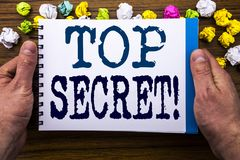 Writing text showing Top Secret. Business concept for Military Top Secret written on notepad notebook book on the wooden wood back royalty free stock photos
