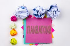 Writing text showing Translations written on sticky note in office with screw paper balls. Business concept for  Translate Explain. Plead Book Language on white Stock Photography