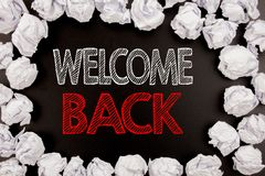 Writing text showing Welcome Back. Business concept for Emotion Greeting written on black background with copy space on old backgr. Writing text showing Welcome Stock Image