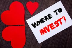 Writing text showing Where To Invest Question. Concept meaning Financial Income Investing Plan Advice Wealth written on notobook p. Aper note on wooden Stock Photography