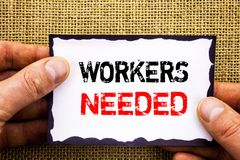 Writing text showing Workers Needed. Concept meaning Search For Career Resources Employees Unemployment Problem written on Sticky. Writing text showing Workers stock photo