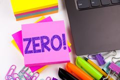 Writing text showing Zero made in the office with surroundings such as laptop, marker, pen. Business concept for Zero Zeros Nought. Tolerance Workshop white Royalty Free Stock Photography