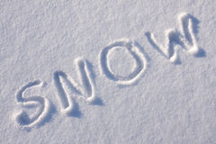 Writing text  on the snow Royalty Free Stock Images