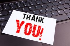 Writing Thank You text made in the office close-up on laptop computer keyboard. Business concept for Giving Gratitude Appreciate M Royalty Free Stock Photography