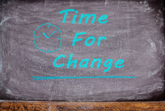 Writing Time for Change on  blackboard, chalkboard for background. Royalty Free Stock Photos