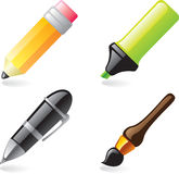 Writing tool icons. Pen, pencil, marker and brush icons Royalty Free Stock Image