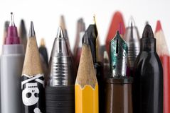 Writing tools. Closeup image of grouped writing tools, pencils,penci,markers stock images