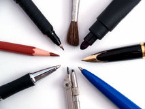 Writing tools. Group of different writing tools isolated white Royalty Free Stock Image