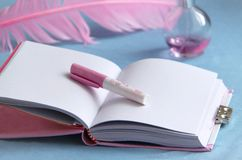 Writing tools. Diary, pen, quill and perfume. Girl´s writing tools. Open diary with a pen, quill and perfume Stock Photography