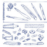 Writing tools - handdrawn set. Outline objects Stock Photography