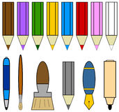 Writing tools icons. Set of drawing writing  and painting tools Stock Photos