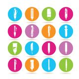 Writing tools icons. Collection of 16 writing tools icons in colorful buttons Royalty Free Stock Photo