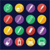 Writing Tools Icons Flat Design Circle Stock Photos